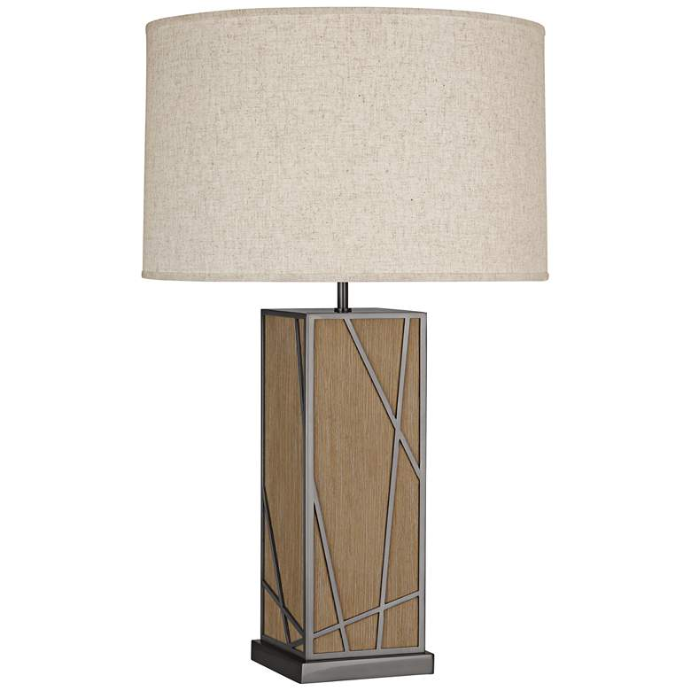 Michael Berman Kerr Oak Wood Table Lamp with Heather Shade