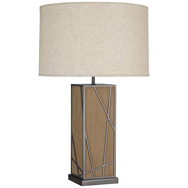 Michael Berman Kerr Oak Wood Table Lamp with Heather Shade