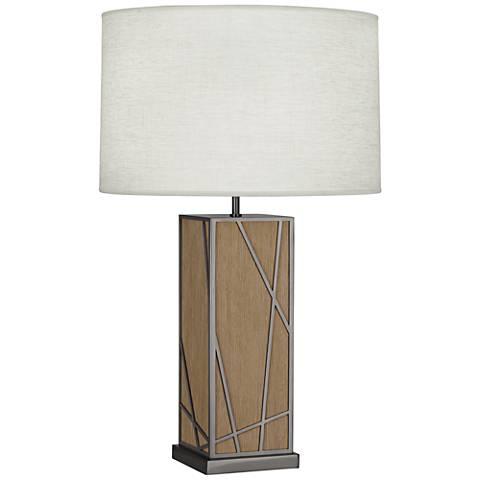 Michael Berman Kerr Oak Wood Table Lamp with Oyster Shade