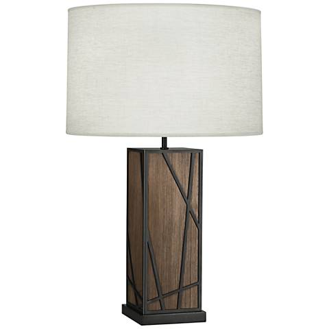 Michael Berman Kerr Walnut Wood Table Lamp w/ Oyster Shade