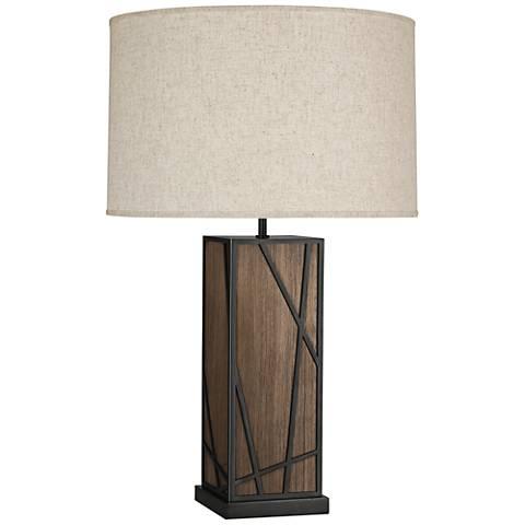 Michael Berman Kerr Walnut Wood Table Lamp w/ Heather Shade