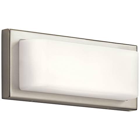 """Elan Kelsi 12"""" Wide Brushed Nickel LED Bath Light"""