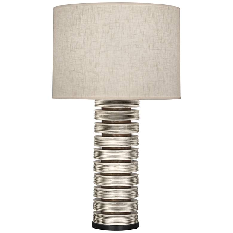 Berkley Antique Oyster Stacked Table Lamp with Heather Shade
