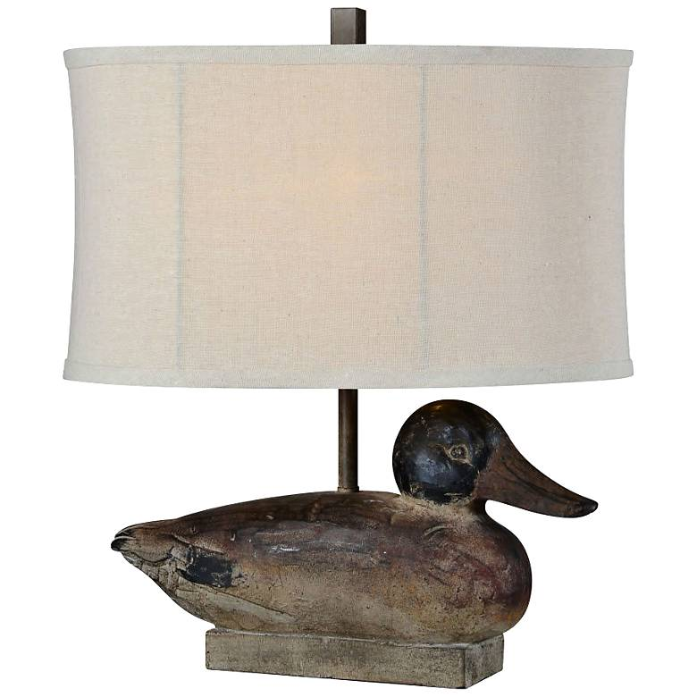 """Duck Decoy Weathered Woodgrain 19 1/2""""H Accent Table Lamp"""
