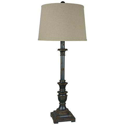 Forty West Rory Aged Metal Oversize Candlestick Buffet Lamp