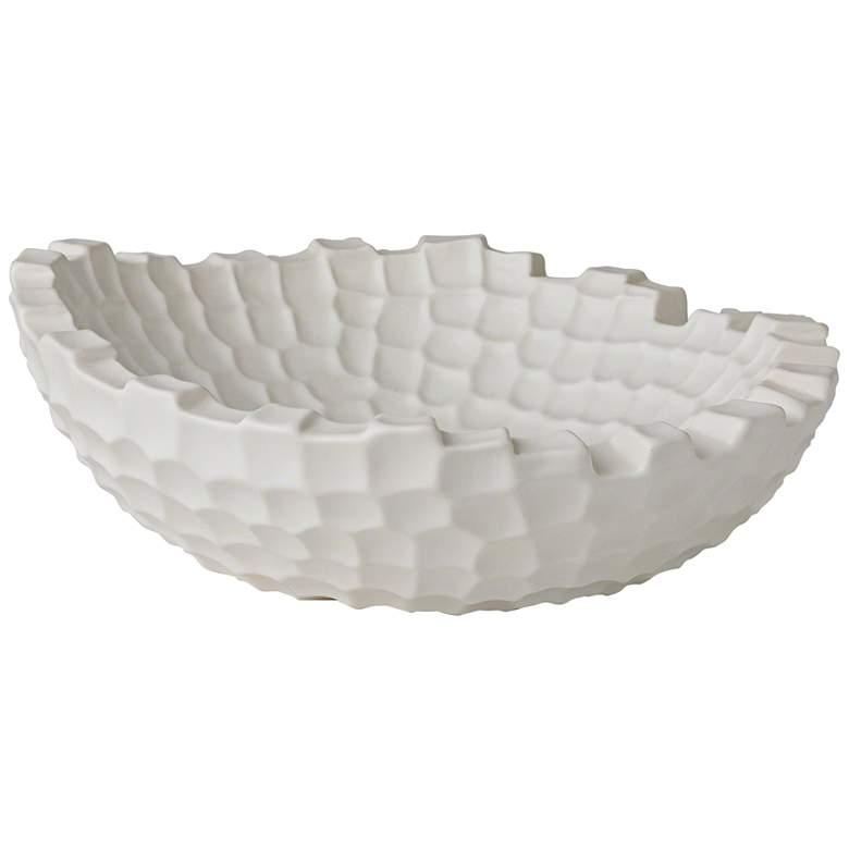 "Random Grid 16"" Wide Matte White Modern Accent Bowl"