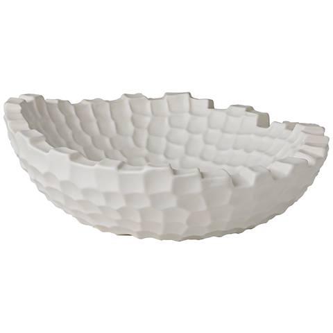 Random Grid Matte White Round Ceramic Accent Bowl