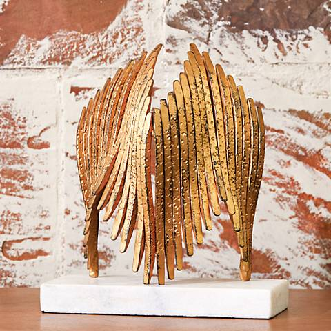 "Icarus 12 3/4"" High Antique Gold Leaf Tabletop Sculpture"