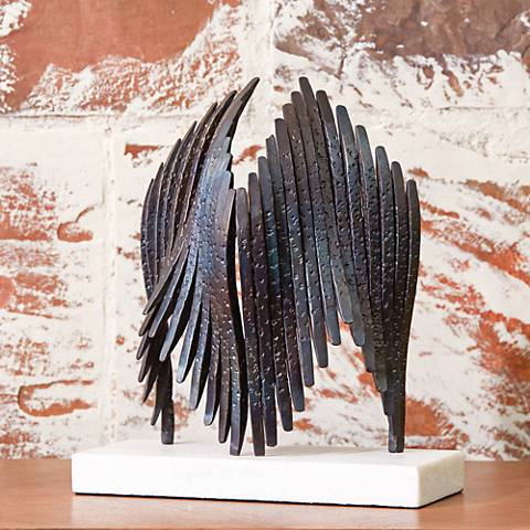 """Icarus 12 3/4"""" High Torched Iron Tabletop Sculpture"""
