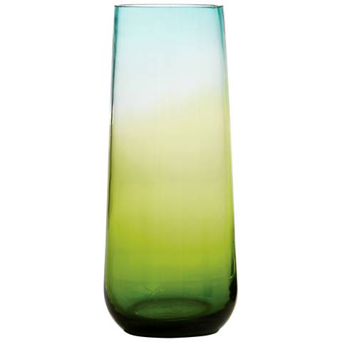 "Ombre 15 3/4"" High Medium Tapered Aqua and Green Glass Vase"
