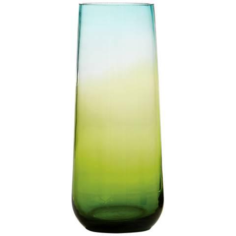 Ombre 15 34 High Medium Tapered Aqua And Green Glass Vase 19p37
