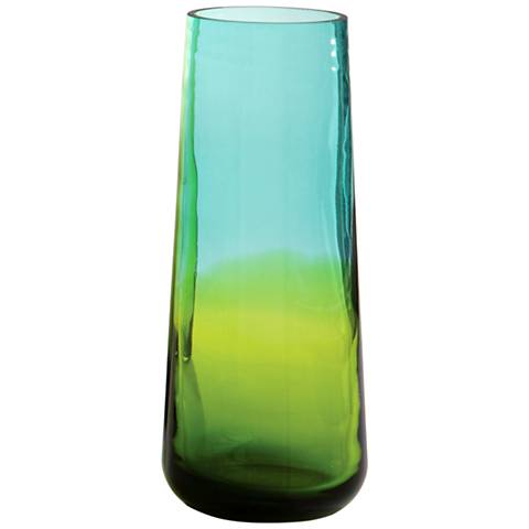 """Ombre 12"""" High Small Tapered Aqua and Green Glass Vase"""