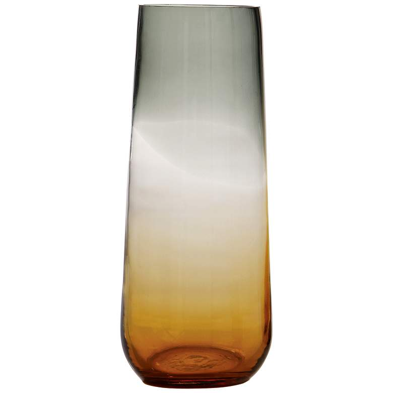 """Ombre 15 3/4"""" High Medium Tapered Gray and Amber Glass Vase"""