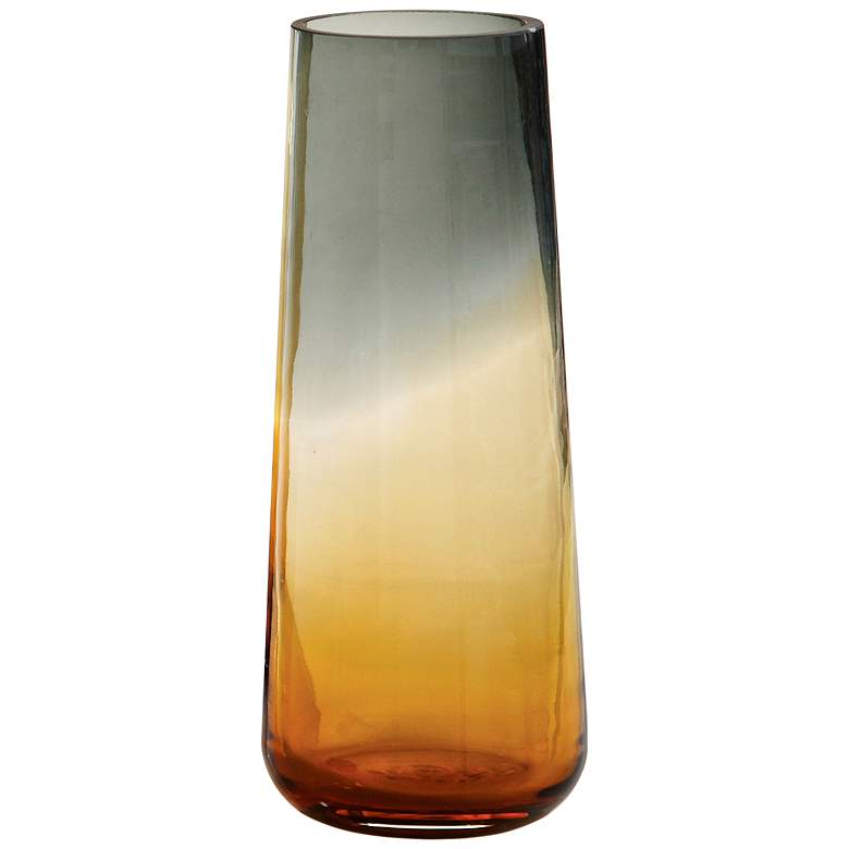 "Ombre 12"" High Small Tapered Gray and Amber Glass Vase"