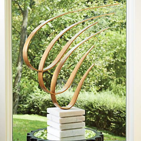 "Swoosh 26 1/2""H Gold Indoor/Outdoor Sculpture on Marble Base"