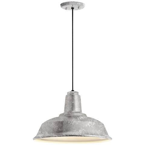 "Heavy Duty 9 1/4"" High Galvanized Outdoor Hanging Light"