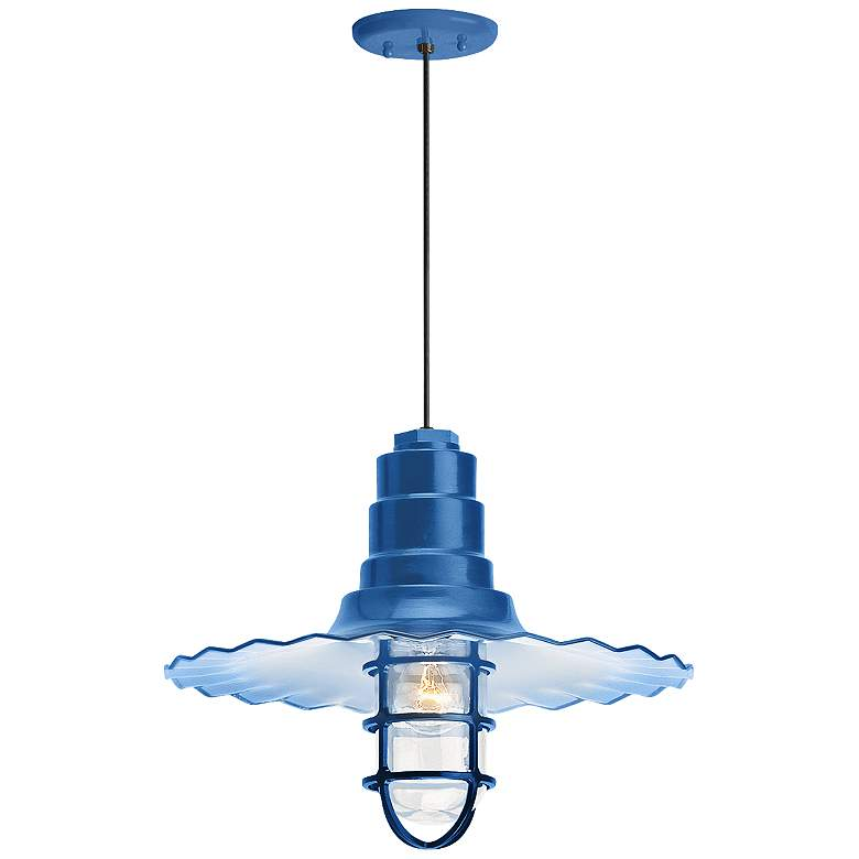 """Radial Wave 7"""" High Blue Outdoor Hanging Light"""