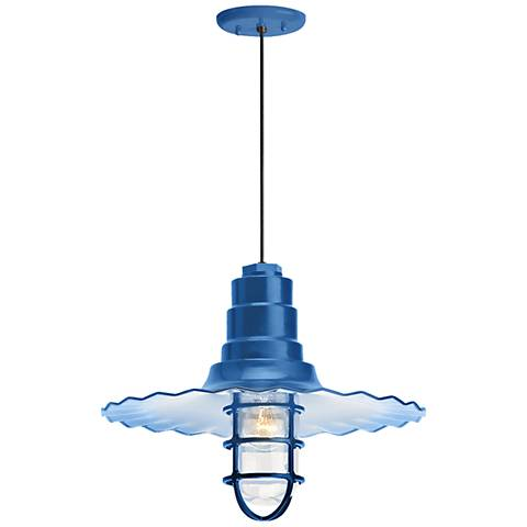 "Radial Wave 7"" High Blue Outdoor Hanging Light"