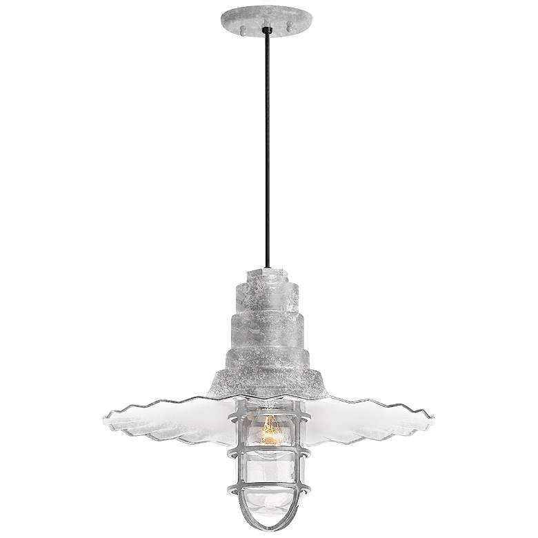 """Radial Wave 7"""" High Galvanized Outdoor Hanging Light"""