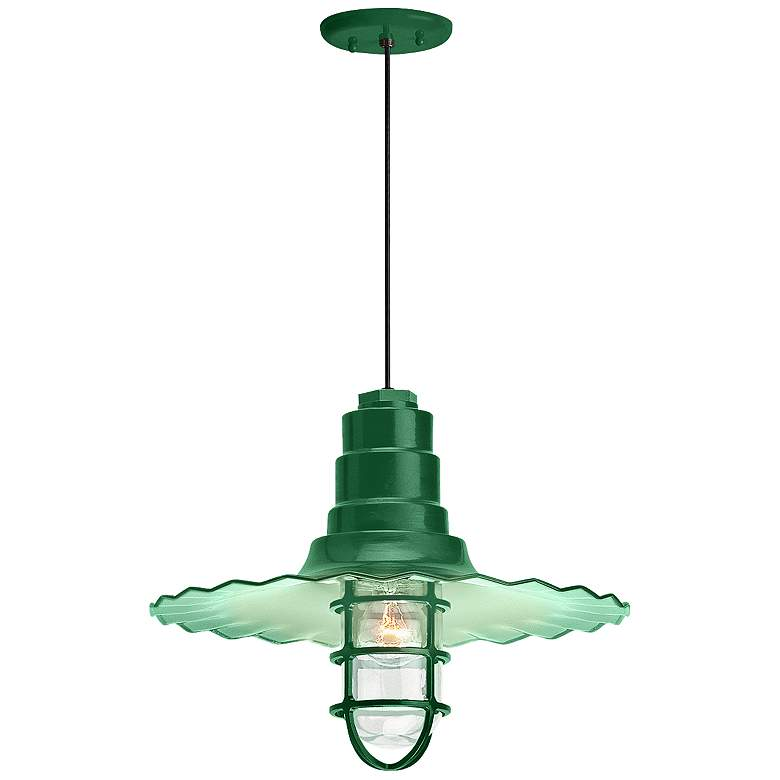 "Radial Wave 7"" High Hunter Green Outdoor Hanging"