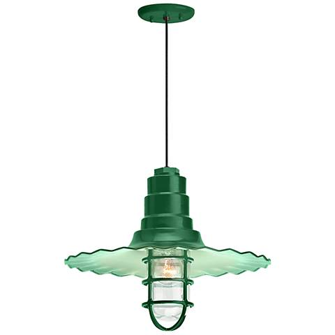 "Radial Wave 7"" High Hunter Green Outdoor Hanging Light"