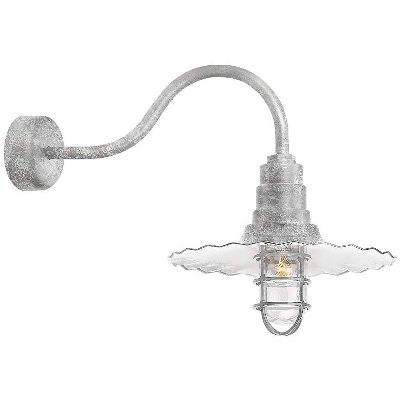 """Radial Wave 15 3/4"""" High Galvanized Outdoor Wall Light"""