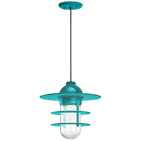 "Retro Industrial 9"" High Tahitian Teal Outdoor Hanging Light"