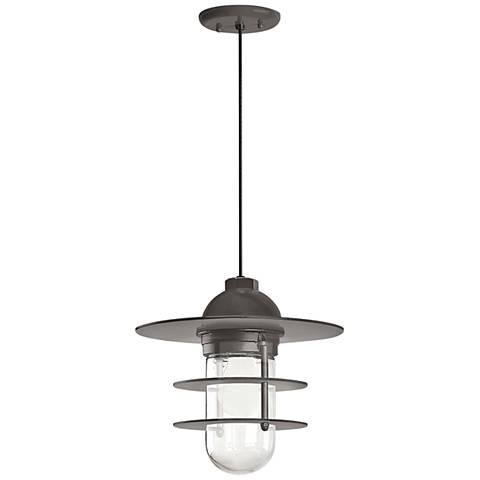 """Retro Industrial 9""""H Textured Bronze Outdoor Hanging Light"""