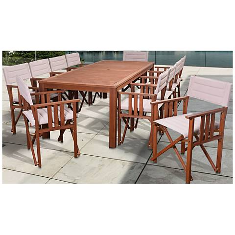 Via Alcazar Khaki 11Piece Rectangle Outdoor Patio Dining Set