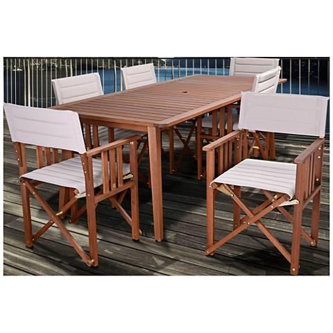 Via Alcazar Khaki 7-Piece Large Rectangular Patio Dining Set