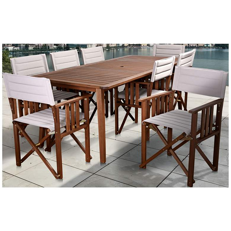 Via Alcazar Khaki 9-Piece Large Rectangular Patio Dining Set