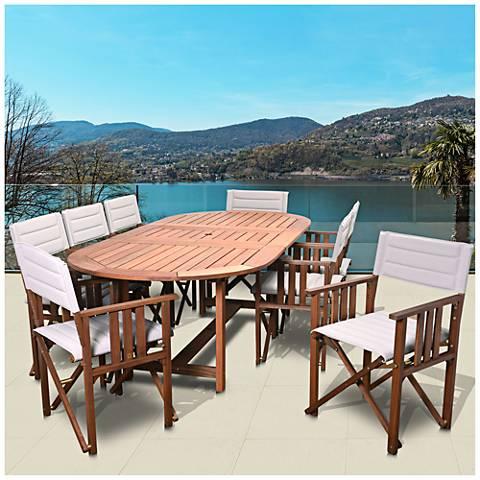 Via Alcazar Khaki 9-Pc. Extendable Oval Patio Dining Set