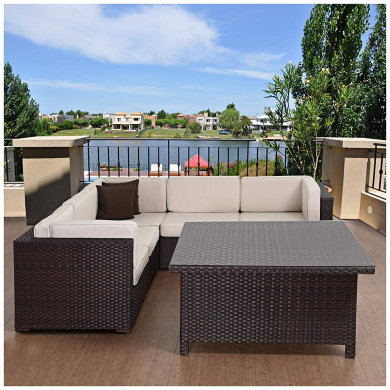 Maryland Brown Wicker 7-Piece Outdoor Seating Patio Set