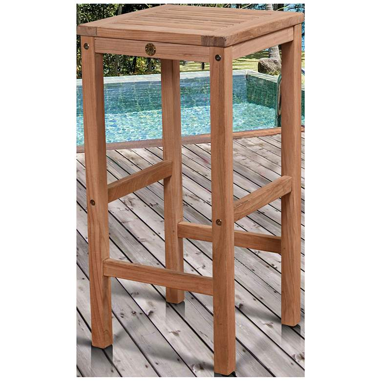 "Piatto 30"" Teak Wood Backless Square Outdoor Patio Barstool"