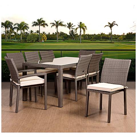 Vicento Gray Wicker 9-Piece Off-White Patio Dining Set