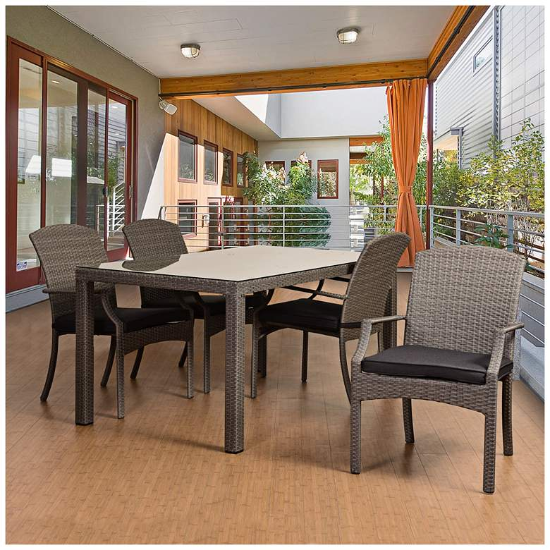 Montbury Gray Wicker 5-Piece Armchair Patio Dining Set