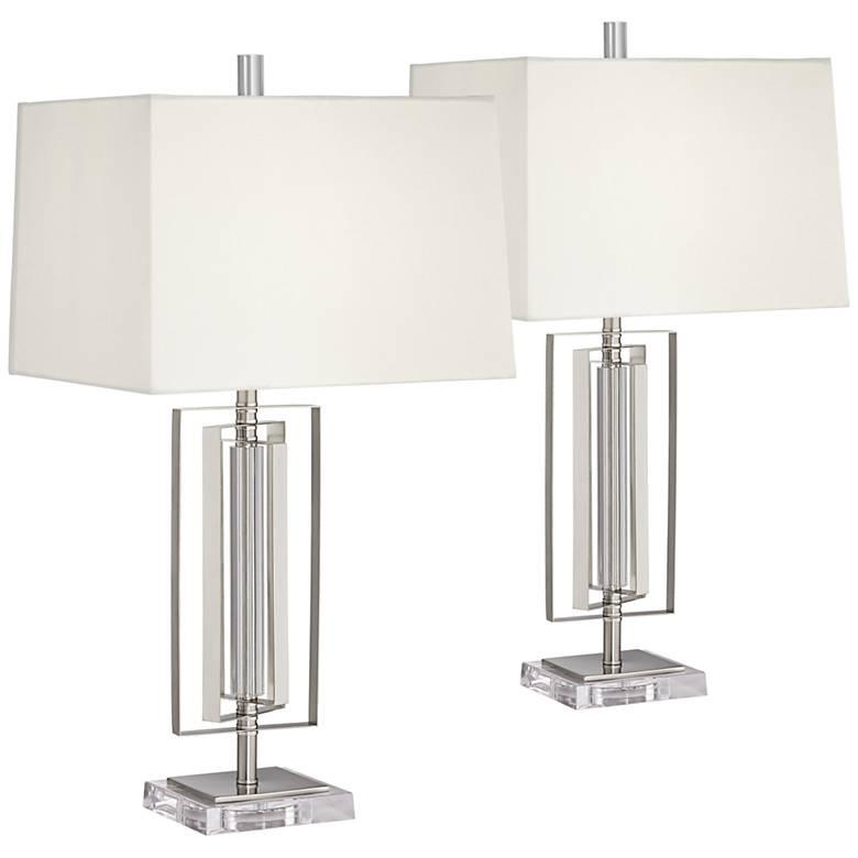 Joyce Metal and Glass Modern Table Lamp Set of 2