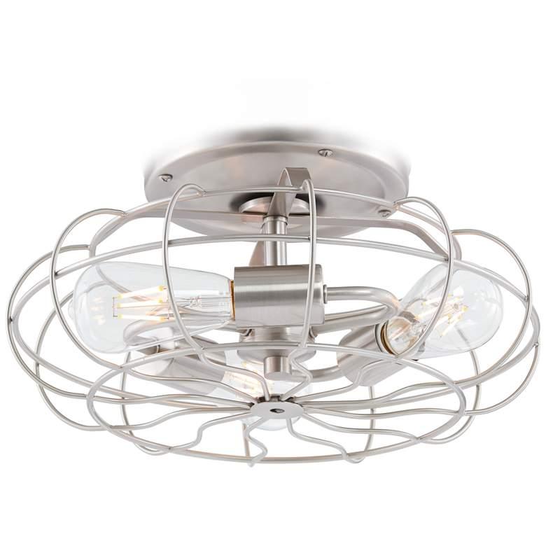 Brushed Nickel Vintage Cage LED Ceiling Fan Light