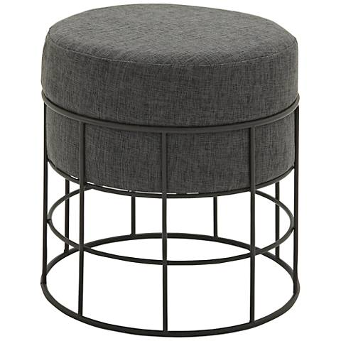 Pommel Dark Gray Cushioned Iron Round Indoor-Outdoor Stool