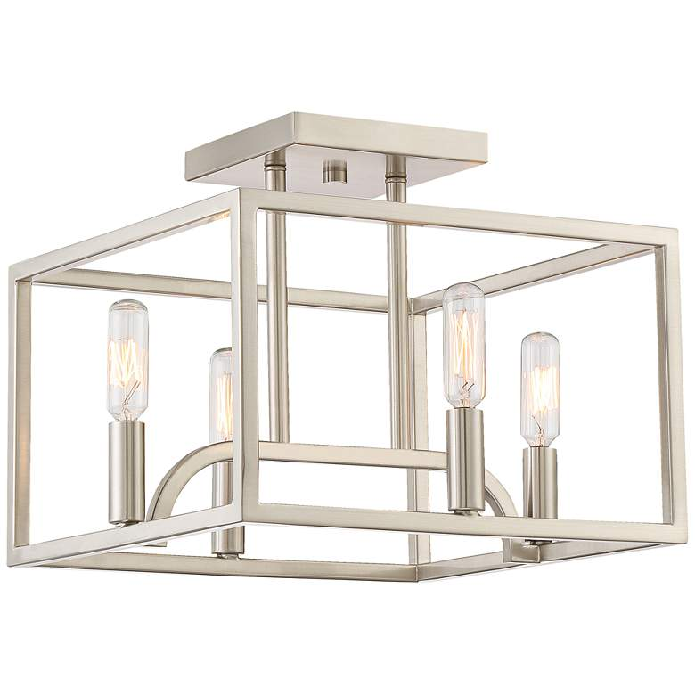 "Uptown 12"" Wide Satin Platinum 4-Light Ceiling Light"