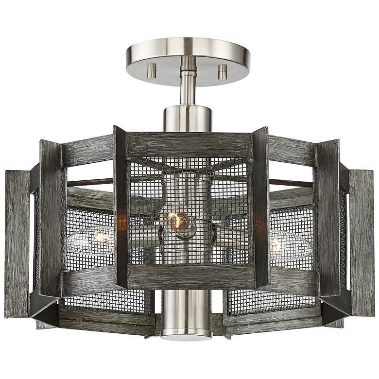 "Baxter 16 1/4""W Iron w/ Satin Platinum 3-Light Ceiling Light"