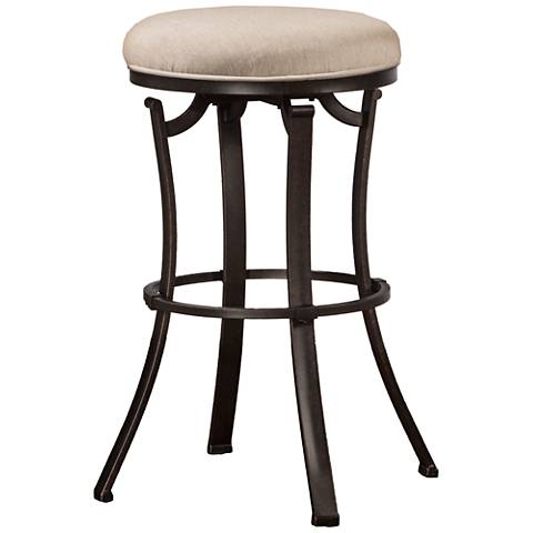 "Hillsdale Bryce 26"" Ash Fabric Swivel Outdoor Counter Stool"
