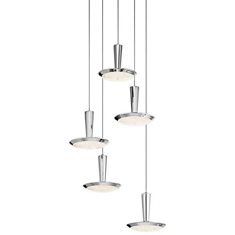 "Elan Karah 17 3/4"" Wide Chrome LED Multi Light Pendant"