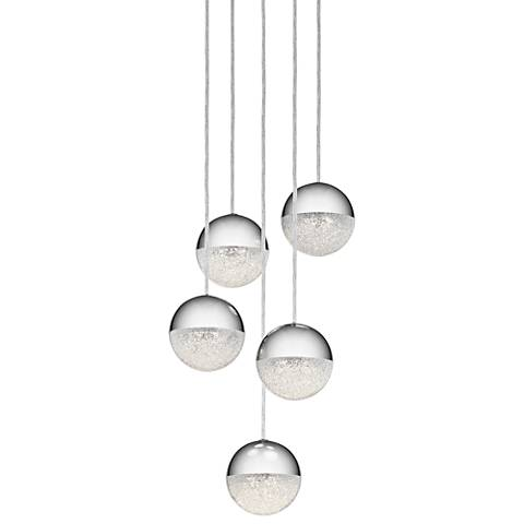 "Elan Moonlit 13"" Wide Chrome LED Multi Light Pendant"