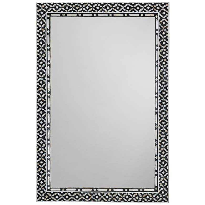 """Evelyn Mother of Pearl 24"""" x 36"""" Rectangular Wall Mirror"""