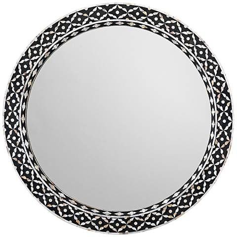 """Jamie Young Evelyn Mother of Pearl 36"""" Round Wall Mirror"""
