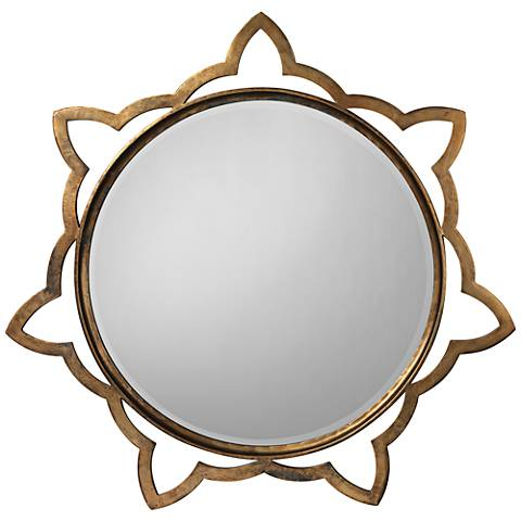 "Jamie Young Sante Antique Brass 36"" Round Wall Mirror"