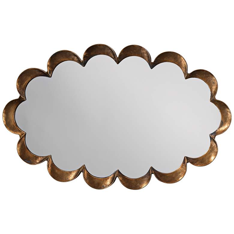 """Jamie Young Scallop Antique Brass 36"""" x 23"""" Wall Mirror"""