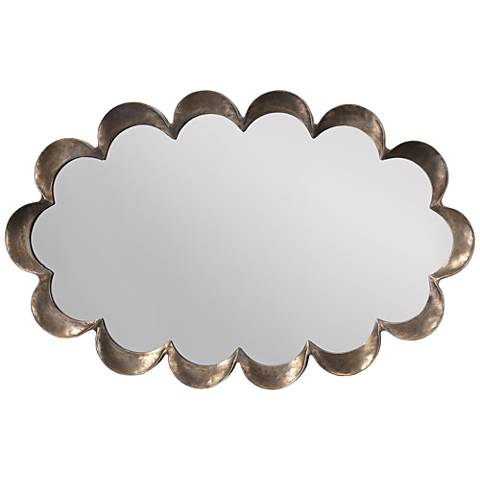 """Jamie Young Scallop Antique Silver 23"""" x 36"""" Wall Mirror"""