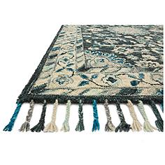 Zharah ZR-02 8x10 Teal and Gray Wool Area Rug